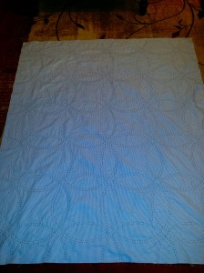 Flowering snowball back quilted and ready to bind