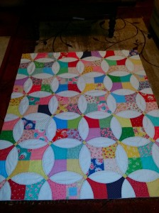 Flowering snowball quilted and ready to bind