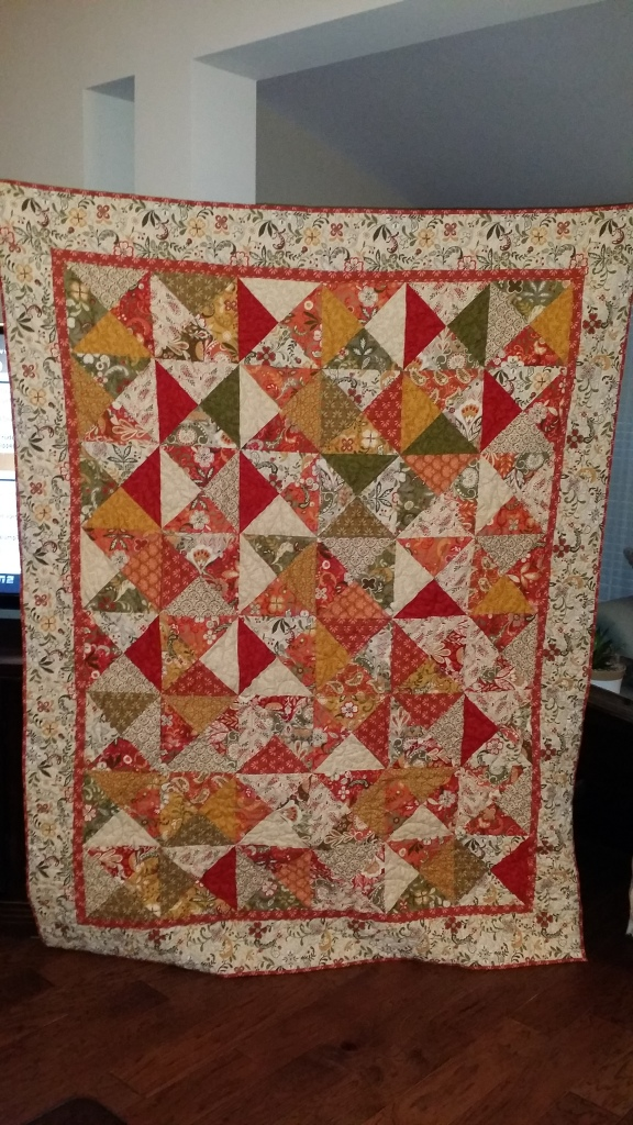 Hourglass quilt finished front